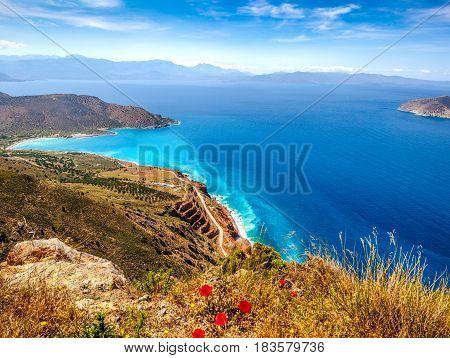 View Of Mirabello Bay And Tholos Beach, Lassithi, Crete