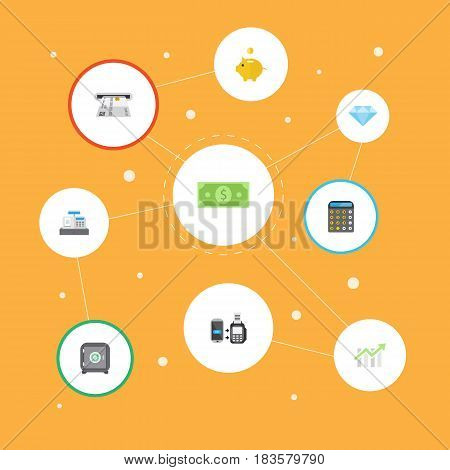Flat Bar Diagram, Money Box, Money And Other Vector Elements. Set Of Banking Flat Symbols Also Includes Remote, Bank, Finance Objects.