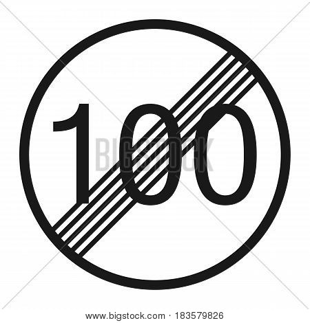 End maximum speed limit 100 sign line icon Traffic and road sign vector graphics a solid pattern on a white background eps 10.