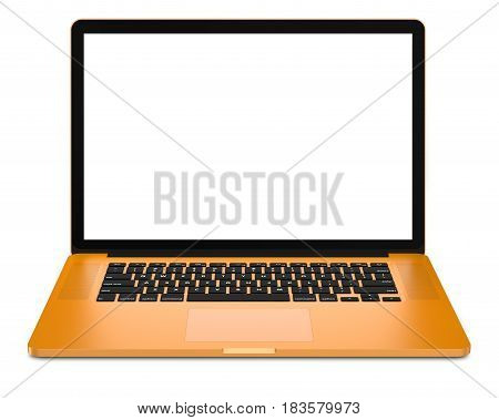 Yellow laptop on a white background. High detailed, resolution image. 3D illustration.