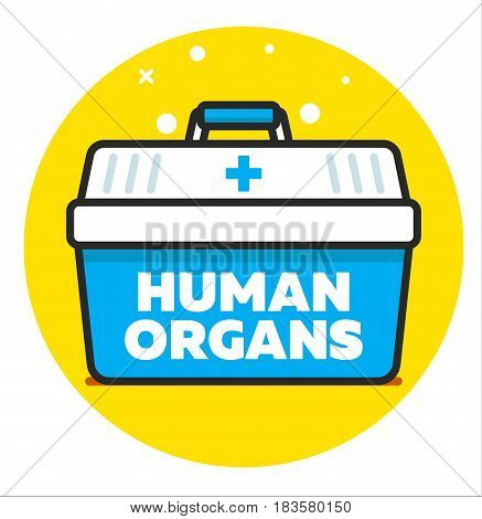 Organ transplantation concept - cooler box for human organs transportation