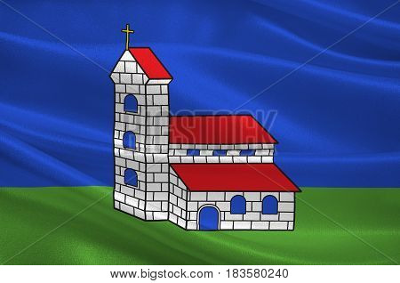 Flag of Altkirch is a commune in the Haut-Rhin department in Alsace in north-eastern France. 3d illustration