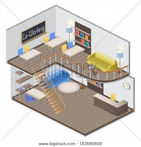 Isometry creative work space. Coworking. Vector Illustration