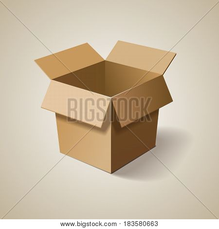 Empty cardboard box opened. Delivery box. Vector illustration