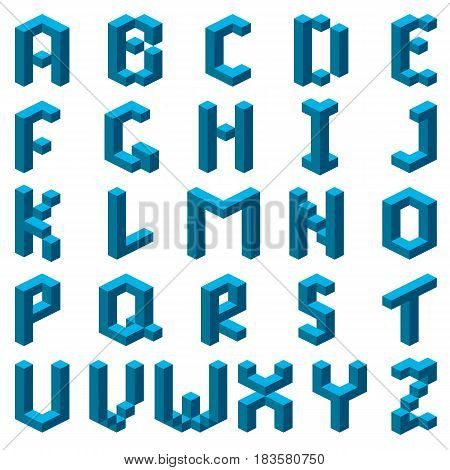 Blue abstract isometric font. Alphabet. Vector illustration