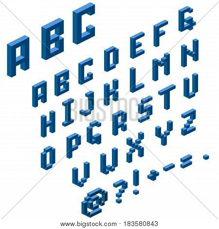 Isometric alphabet for your design. Vector illustration.