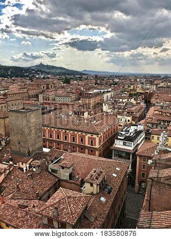 Roofs of the old European city. Bologna skyline.  View from the City Tower. Bologna. Italy.