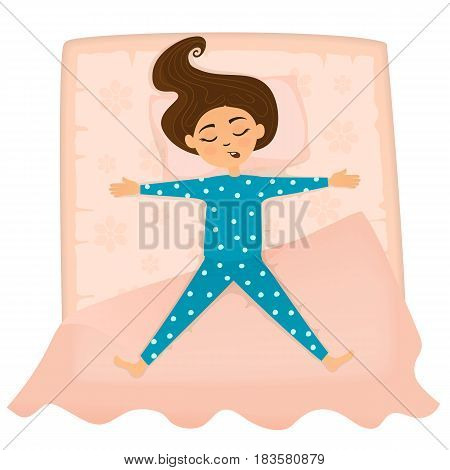 Little cute girl sleep in bed. The girl sleeping in the position of the stars. Vector illustration.