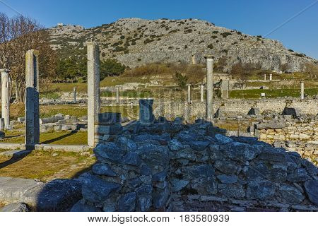 Ancient columns in the archeological area of Philippi, Eastern Macedonia and Thrace, Greece