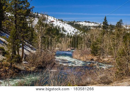 Mountain River Flowing From Snow Melt In Sierra Nevada