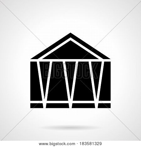 Monochrome abstract symbol of fair marquee. Structures for commercial, exhibition or trade events. Symbolic black glyph style vector icon.