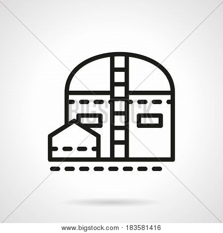 Symbol of industrial storage - warehouse and barn, granary. Architecture for industry. Black simple line design vector icon.