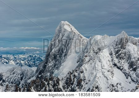 Grands Jorasses Mountain Summit Covered By Snow Ice In Winter