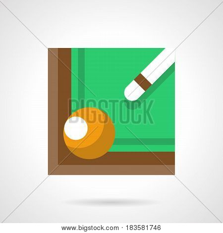 Pool table corner with green felt, cue and yellow ball. Billiard game symbol. Flat color style vector icon.