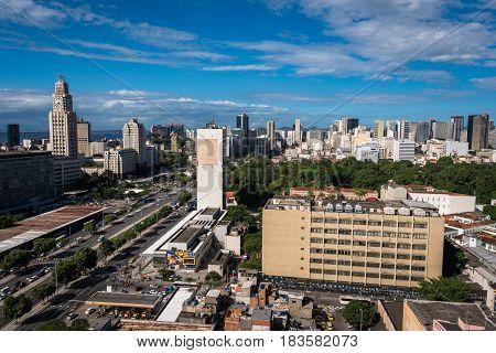 Rio de Janeiro City Center and Downtown Aerial View