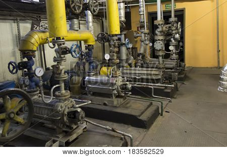 Several old piston pumps, multi-stage to water