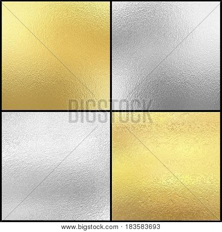Set of Silver and gold foil texture, metallic decorative background