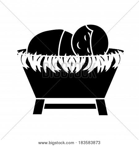 jesus baby on Straw cradle manger character vector illustration design