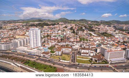 Panoramic view of Ponta Delgada, Azores, Portugal. at morning aerial view