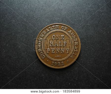 1922 Australian One Half Penny Vintage Australian Coin. Reverse side displayed.