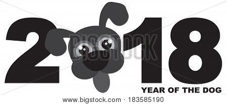 2018 Chinese Lunar New Year of the Dog Numeral with Cute Puppy Dog Face Grayscale vector Illustration