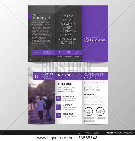 Trifold Business Brochure Leaflet Flyer or booklet template. Flat design set. Vector Illustration.