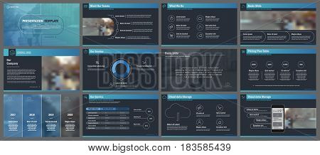 Blue infographic elements on a dark background for presentation templates. Use in presentation, flyer and leaflet, corporate report, marketing, advertising, annual report, banner.