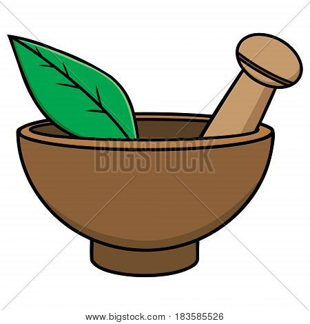 A vector illustration of a Mortar and Pestle.