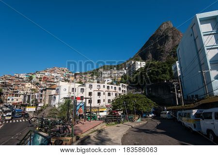 Rio de Janeiro, Brazil - April 6, 2017: Streets of favela Vidigal in Rio de Janeiro, Brazil. After installing Pacifying Police Units, favela became better and safer place to live in.