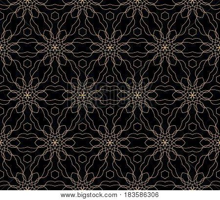 Seamless Black, Gold Floral Pattern. Vector Illustration. Purple Color. For Design, Wallpaper, Backg