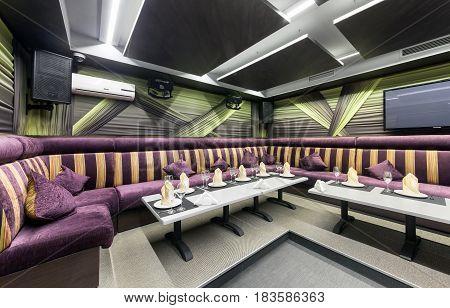 MOSCOW - AUGUST 2014: The modern interior of the VIP room of the restaurant-karaoke