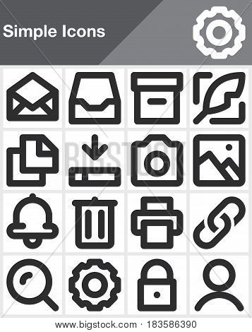 Simple universal line icons set outline vector symbol collection linear style pictogram pack isolated on white. Signs logo illustration web graphics