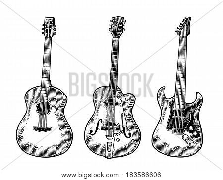 Acoustic and electric guitar. Vintage vector black engraving illustration for poster, web. Isolated on white background.