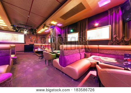 MOSCOW - AUGUST 2014: Modern interior of the main hall of the restaurant-karaoke