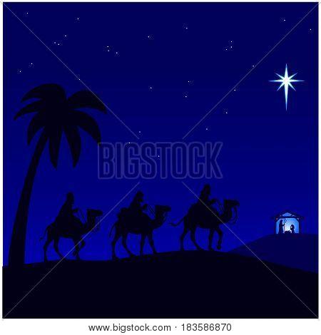 A vector illustration of a Nativity scene.