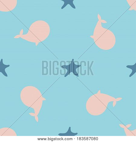Underwater design of seamless pattern for wrapping, textile, prints. Seastar and whale colorful vector illustration elements