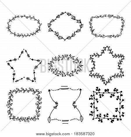 Hand drawn doodle vector laurels and wreaths. Design elements for invitations, greeting cards, quotes, blogs. Perfect For Wedding Frames and Anniversary cards.