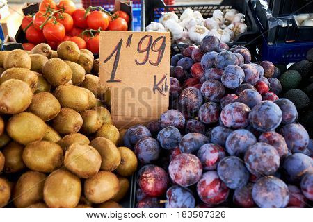 Various vegetables and fruits on the Sunday market in Spain, Mercadillo de Campo de Guardamar