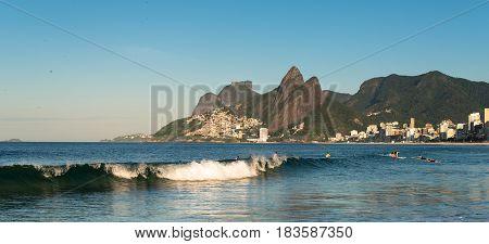 Waves in the Ocean in Ipanema Beach in Rio de Janeiro, Brazil