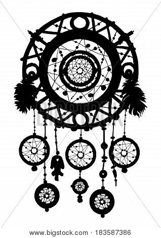 Native American Indian talisman dreamcatcher. Dream catcher silhouette with feathers and beads