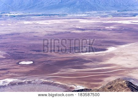 View of flatlands in Death Valley National Park as seen from Dantes View