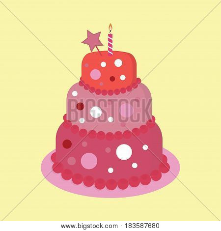 happy birthday cake card, Birthday cake with candle and star, colorful sweet cake