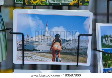 BEDOIN FRANCE - AUGUST 1 2016: Postcards souvenirs Cycling on Mont Ventoux road to summit. Provence France