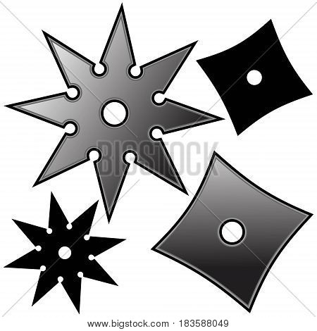 A vector illustration of Ninja throwing stars.