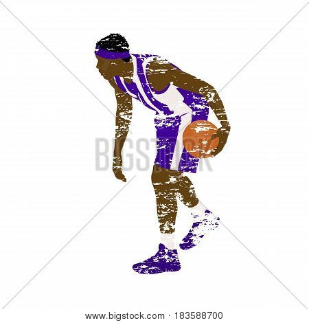 Scratched basketball player with ball grungy vector illustration