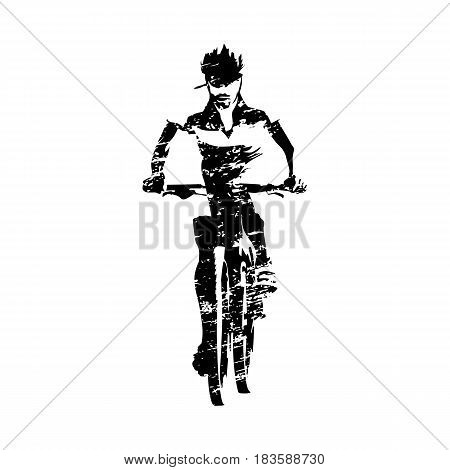 Scratched mountain biker abstract grungy vector silhouette