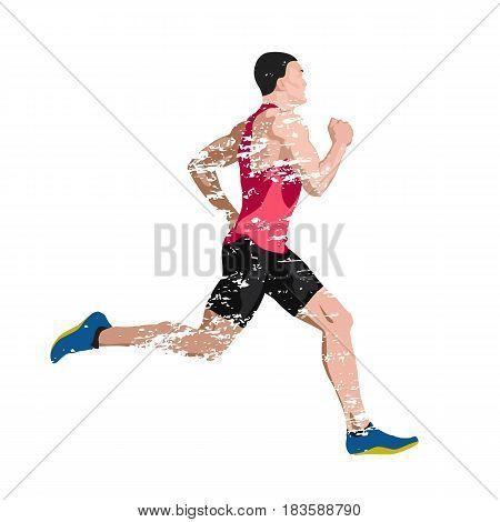 Runner scratched vector illustration of sprinting man