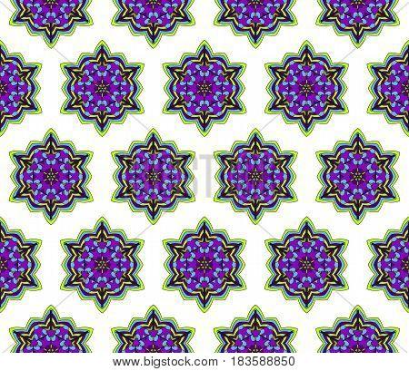 Color Decorative Geometric Floral Pattern. Seamless Vector Illustration. For Wallpaper, Invitation,