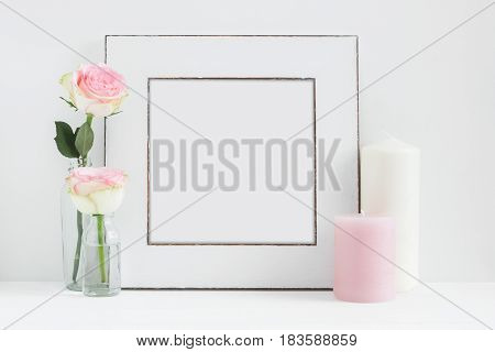 Square Frame Mockup Floral Styled Stock Photograph