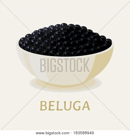 Vector illustration of the black beluga sturgeon caviar in a white plate.